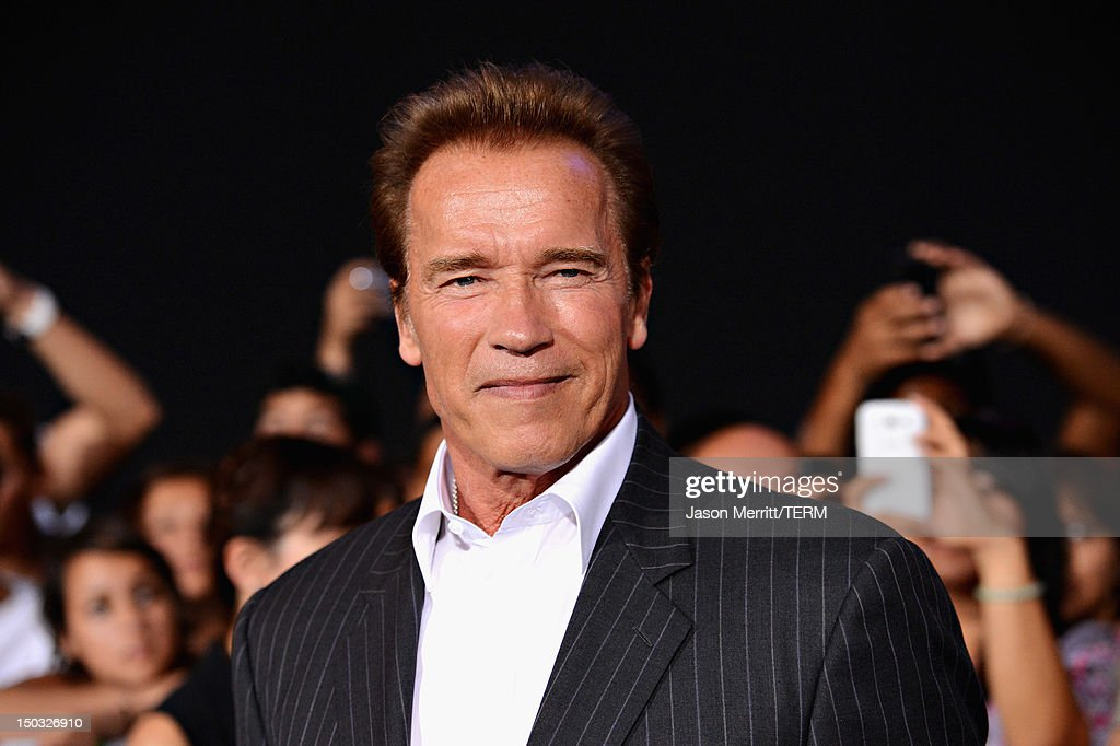 Actor Arnold Schwarzenegger arrives at Lionsgate Films' 'The Expendables 2' premiere on August 15, 2012 in Hollywood, California.