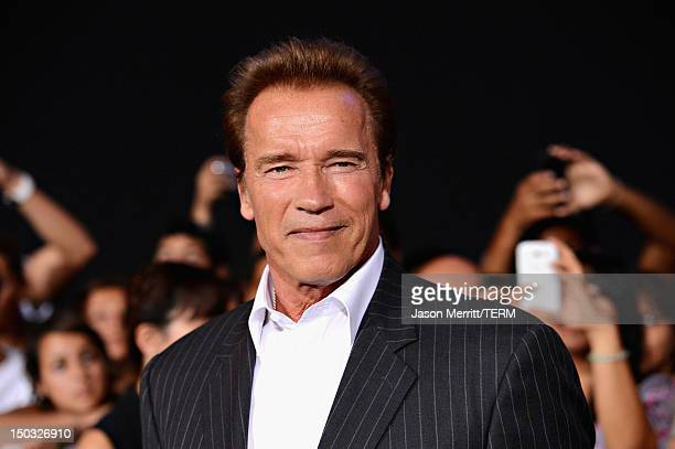 Actor Arnold Schwarzenegger arrives at Lionsgate Films' 'The Expendables 2' premiere on August 15 2012 in Hollywood California