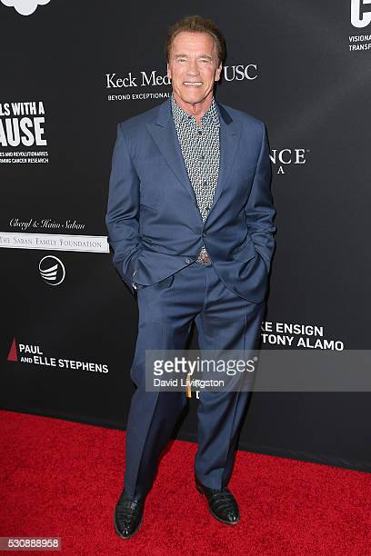 Actor Arnold Schwarzenegger arrives at the 3rd Biennial Rebels with a Cause Fundraiser on May 11 2016 in Santa Monica California
