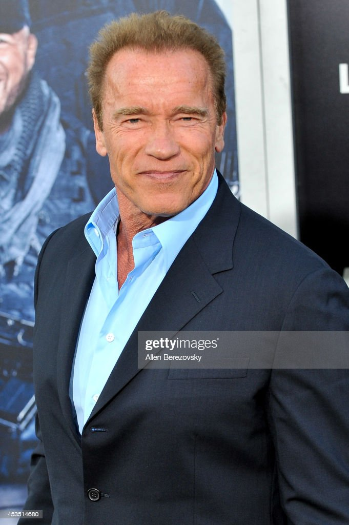 Actor <a gi-track='captionPersonalityLinkClicked' href=/galleries/search?phrase=Arnold+Schwarzenegger&family=editorial&specificpeople=156406 ng-click='$event.stopPropagation()'>Arnold Schwarzenegger</a> arrives at the Los Angeles premiere of Lionsgate Films' 'The Expendables 3' at TCL Chinese Theatre on August 11, 2014 in Hollywood, California.