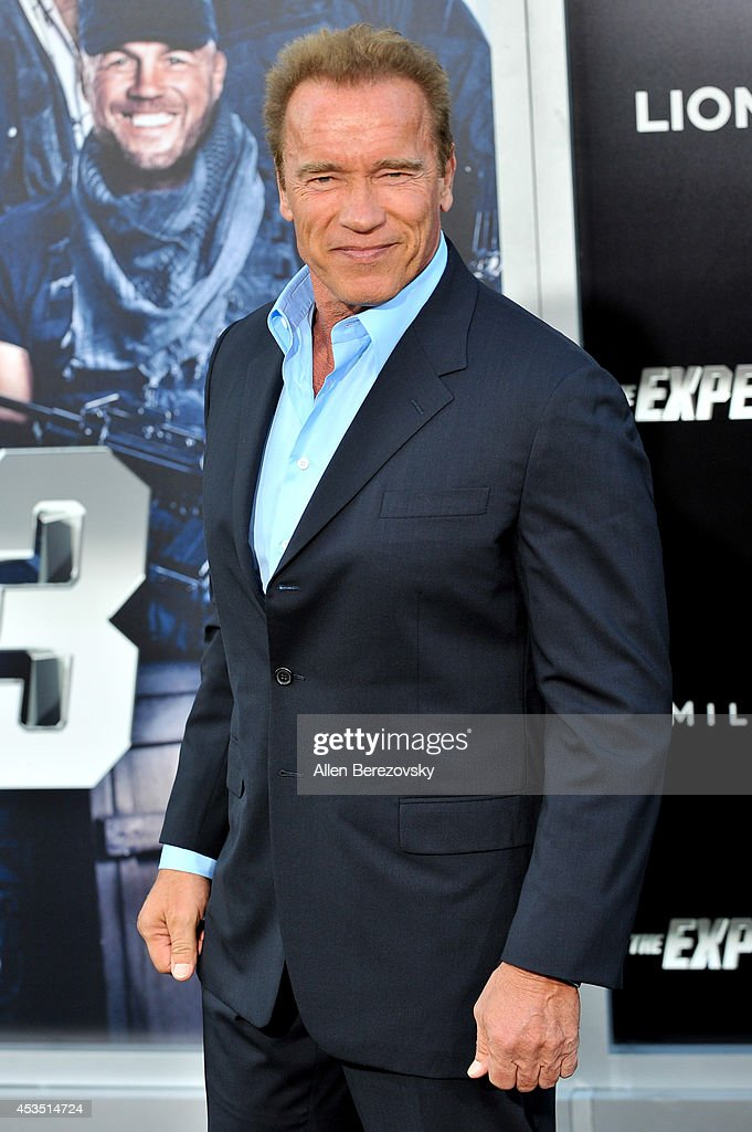 Actor Arnold Schwarzenegger arrives at the Los Angeles premiere of Lionsgate Films' 'The Expendables 3' at TCL Chinese Theatre on August 11, 2014 in Hollywood, California.
