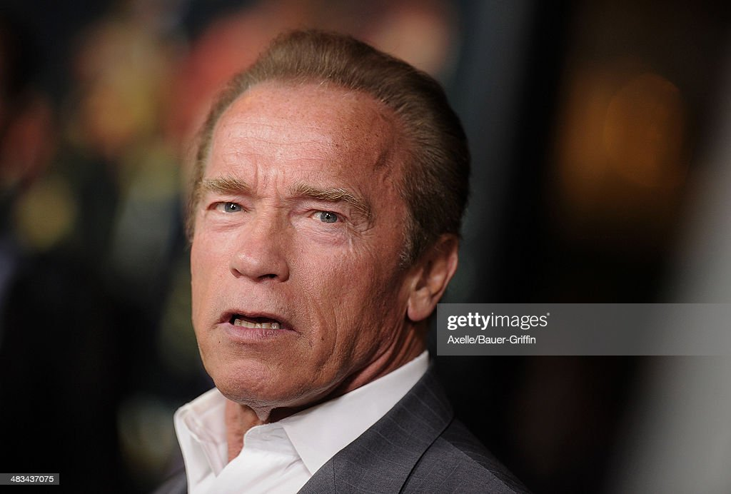 Actor <a gi-track='captionPersonalityLinkClicked' href=/galleries/search?phrase=Arnold+Schwarzenegger&family=editorial&specificpeople=156406 ng-click='$event.stopPropagation()'>Arnold Schwarzenegger</a> arrives at the Los Angeles premiere of 'Sabotage' at Regal Cinemas L.A. Live on March 19, 2014 in Los Angeles, California.