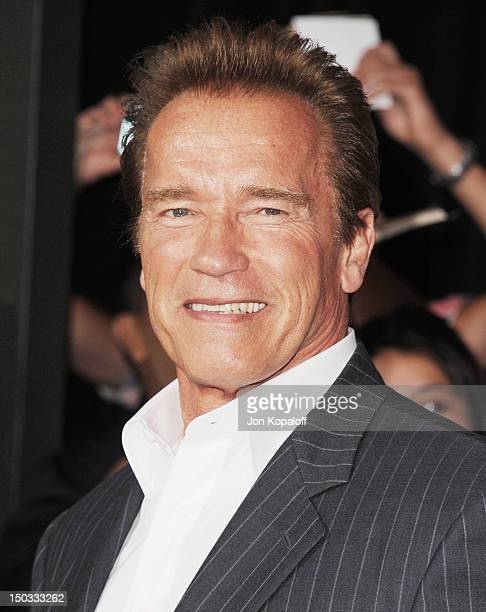 Actor Arnold Schwarzenegger arrives at the Los Angeles Premiere 'The Expendables 2' at Grauman's Chinese Theatre on August 15 2012 in Hollywood...