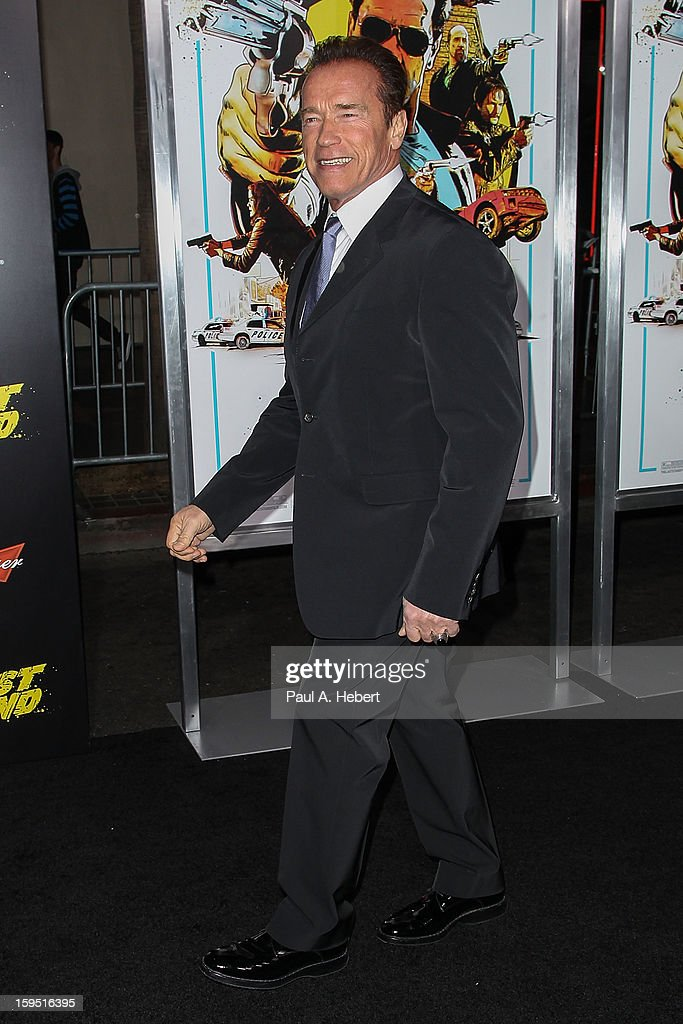 Actor <a gi-track='captionPersonalityLinkClicked' href=/galleries/search?phrase=Arnold+Schwarzenegger&family=editorial&specificpeople=156406 ng-click='$event.stopPropagation()'>Arnold Schwarzenegger</a> arrives at the premiere of Lionsgate Films' 'The Last Stand' held at Grauman's Chinese Theatre on January 14, 2013 in Hollywood, California.