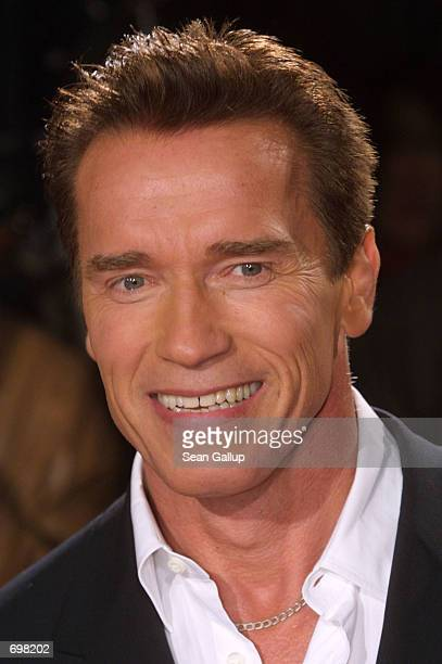 Actor Arnold Schwarzenegger arrives for the German premiere of his film 'Collateral Damage' February 14 2002 in Berlin
