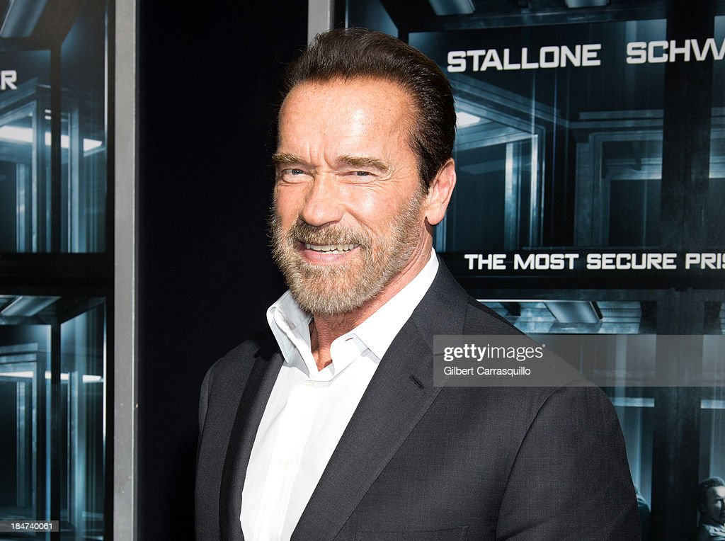 Actor <a gi-track='captionPersonalityLinkClicked' href=/galleries/search?phrase=Arnold+Schwarzenegger&family=editorial&specificpeople=156406 ng-click='$event.stopPropagation()'>Arnold Schwarzenegger</a> attends the 'Escape Plan' premiere at Regal E-Walk on October 15, 2013 in New York City.