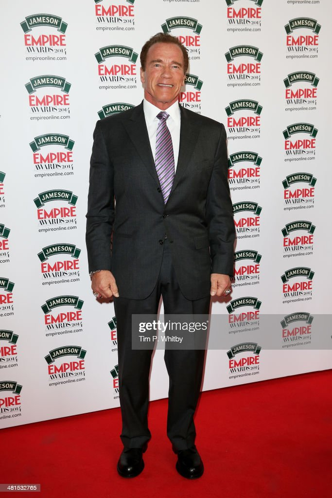 Actor <a gi-track='captionPersonalityLinkClicked' href=/galleries/search?phrase=Arnold+Schwarzenegger&family=editorial&specificpeople=156406 ng-click='$event.stopPropagation()'>Arnold Schwarzenegger</a> attends the Jameson Empire Awards 2014 at the Grosvenor House Hotel on March 30, 2014 in London, England. Regarded as a relaxed end to the awards show season, the Jameson Empire Awards celebrate the film industry's success stories of the year with winners being voted for entirely by members of the public. Visit empireonline.com/awards2014 for more information.