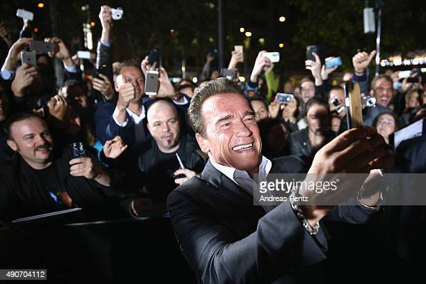 Actor Arnold Schwarzenegger attends the 'Maggie' Premiere and Golden Icon Award Ceremony during the Zurich Film Festival on September 30 2015 in...