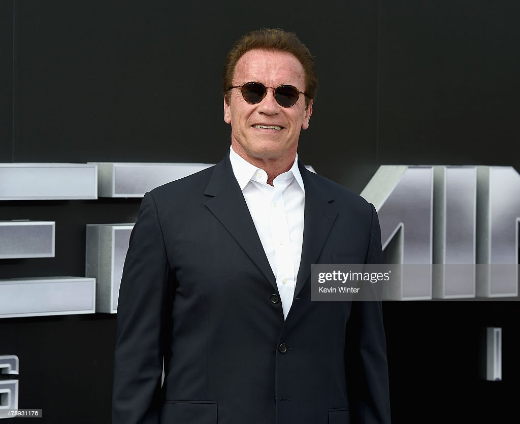 Actor <a gi-track='captionPersonalityLinkClicked' href=/galleries/search?phrase=Arnold+Schwarzenegger&family=editorial&specificpeople=156406 ng-click='$event.stopPropagation()'>Arnold Schwarzenegger</a> attends the LA Premiere of Paramount Pictures' 'Terminator Genisys' at the Dolby Theatre on June 28, 2015 in Hollywood, California.