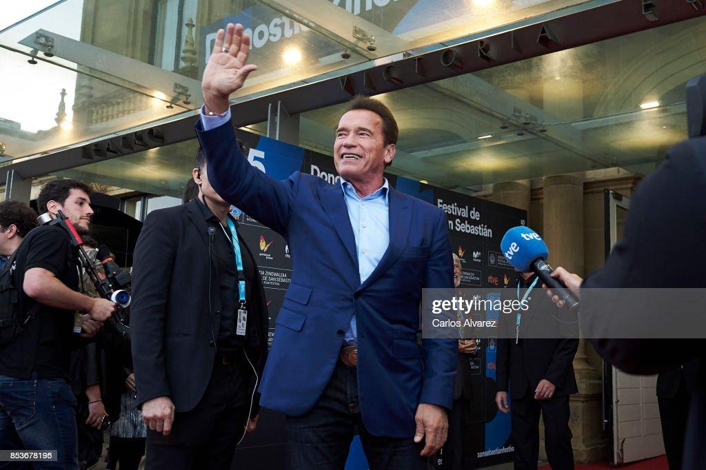 Actor Arnold Schwarzenegger (C) attends the 'Wonder Of The Sea 3D' premiere at the Victoria Eugenia Teather during the 65th San Sebastian International Film Festival on September 25, 2017 in San Sebastian, Spain.