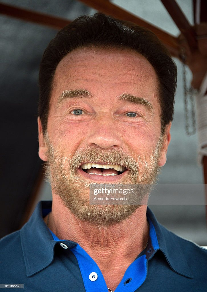 Actor <a gi-track='captionPersonalityLinkClicked' href=/galleries/search?phrase=Arnold+Schwarzenegger&family=editorial&specificpeople=156406 ng-click='$event.stopPropagation()'>Arnold Schwarzenegger</a> celebrates the launch of the new 'Arnold Series' nutritional supplements at Muscle Beach on September 20, 2013 in Venice, California.