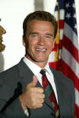 Actor Arnold Schwarzenegger gives a thumbsup at his office August 8 2003 in Santa Monica CA On the previous day Schwarzenegger announced his...