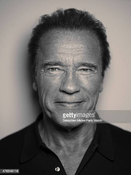 Actor Arnold Schwarzenegger is photographed at his office for Paris Match on May 8 2015 in Santa Monica California