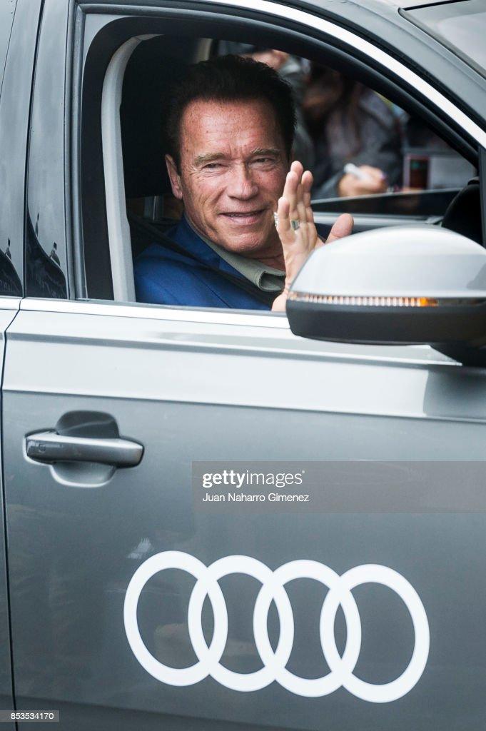 Actor Arnold Schwarzenegger is seen arriving at 65th San Sebastian Film Festival on September 25, 2017 in San Sebastian, Spain.