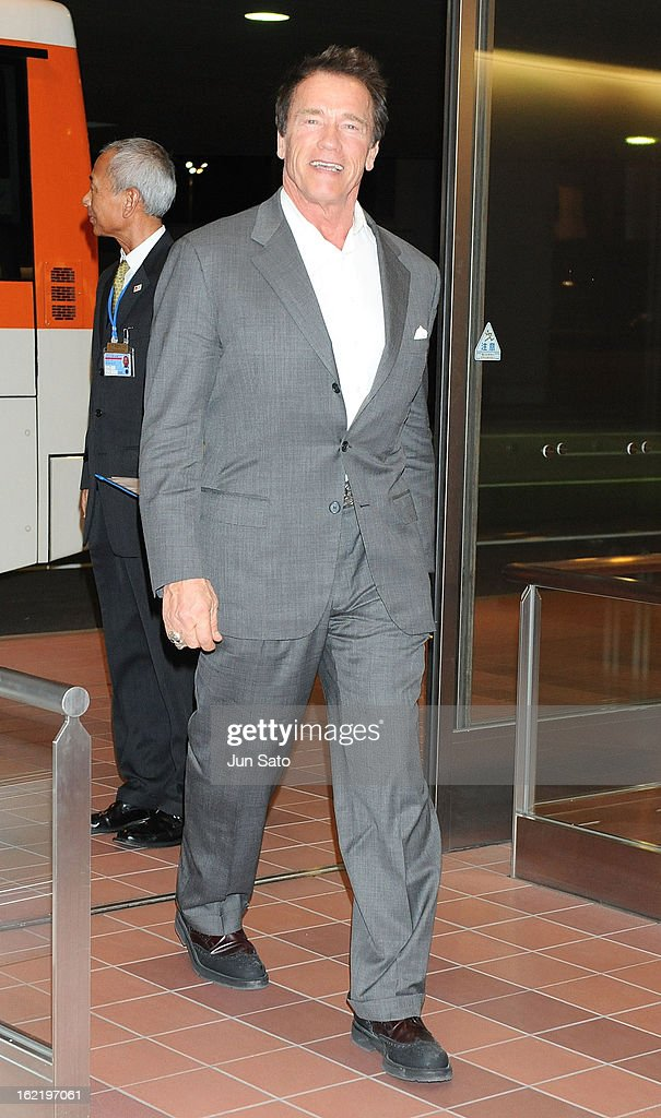 Actor <a gi-track='captionPersonalityLinkClicked' href=/galleries/search?phrase=Arnold+Schwarzenegger&family=editorial&specificpeople=156406 ng-click='$event.stopPropagation()'>Arnold Schwarzenegger</a> is seen upon arrival at Tokyo International Airport on February 20, 2013 in Tokyo, Japan.