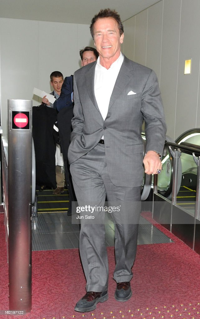 Actor Arnold Schwarzenegger is seen upon arrival at Tokyo International Airport on February 20, 2013 in Tokyo, Japan.