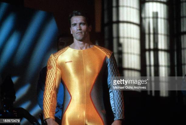 Actor Arnold Schwarzenegger on set of the movie 'The Running Man' in 1987