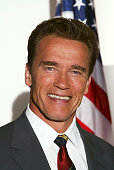 Actor Arnold Schwarzenegger poses for a portrait at his office August 8 2003 in Santa Monica CA the day after he announced his candidacy for governor...