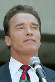 Actor Arnold Schwarzenegger Republican candidate for California Governor picks up papers today from the Los Angeles County Registrar for the...