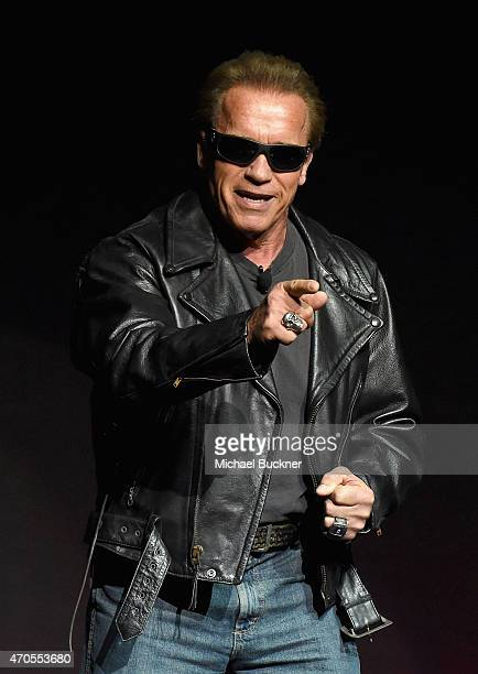 Actor Arnold Schwarzenegger speaks onstage during The State of the Industry Past Present and Future and Paramount Pictures Presentation at The...