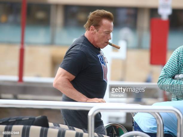 SYDNEY NSW Actor Arnold Schwarzenegger takes a cruise around the harbour in Sydney New South Wales