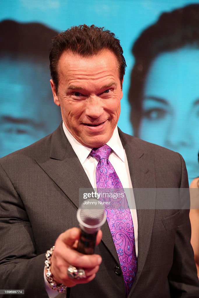 Actor <a gi-track='captionPersonalityLinkClicked' href=/galleries/search?phrase=Arnold+Schwarzenegger&family=editorial&specificpeople=156406 ng-click='$event.stopPropagation()'>Arnold Schwarzenegger</a> visits BET's '106 & Park' at BET Studios on January 17, 2013 in New York City.