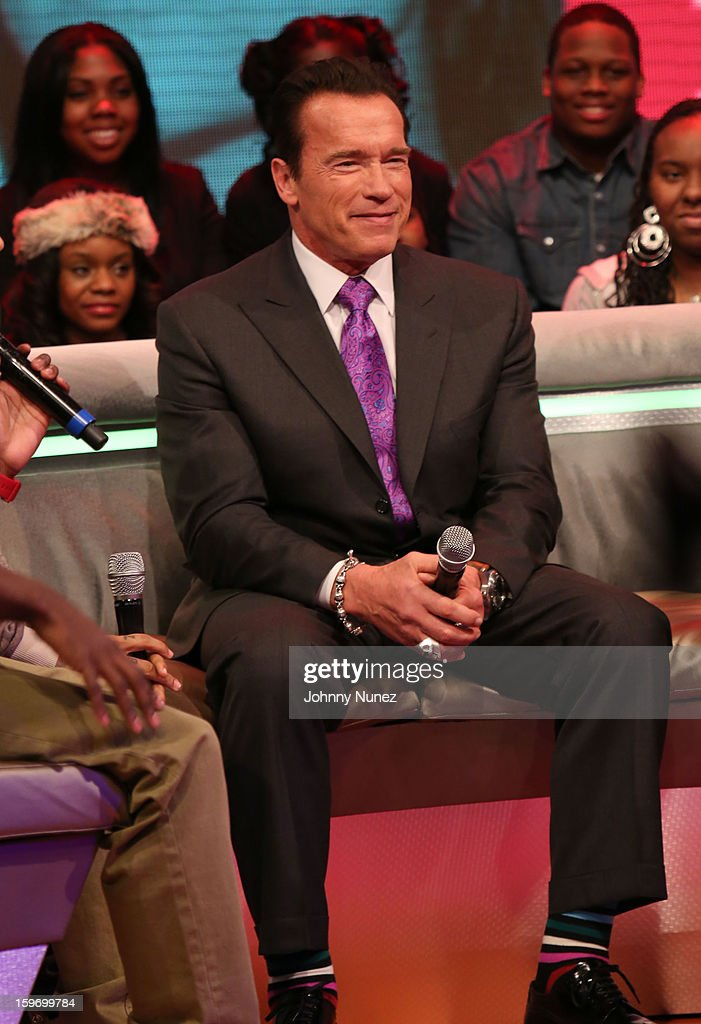 Actor Arnold Schwarzenegger visits BET's '106 & Park' at BET Studios on January 17, 2013 in New York City.