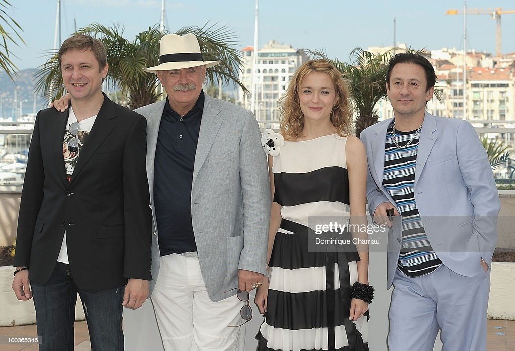 Actor Artem Menshikov, director Nikita Mikhalkov, actress Nadezhda Mihalkova and actor Oleg Menshikov attend 'The Exodus - Burnt By The Sun 2' Photo Call held at the Palais des Festivals during the 63rd Annual International Cannes Film Festival on May 22, 2010 in Cannes, France.