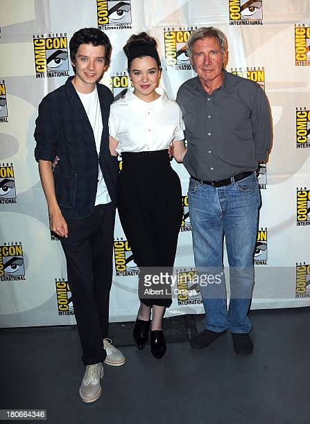 Actor Asa Butterfield actress Hailee Steinfeld and actor Harrison Ford participate in Summit Entertainment's 'Divergent' and 'Ender's Game' panels on...