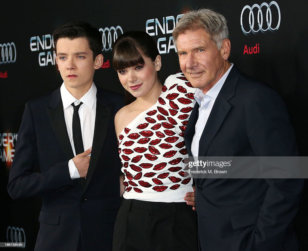 Actor Asa Butterfield, actress Hailee Steinfeld and actor Harrison Ford attend the Premiere of Summit Entertainment's 'Ender's Game' at the TCL Chinese Theatre on October 28, 2013 in Hollywood, California.