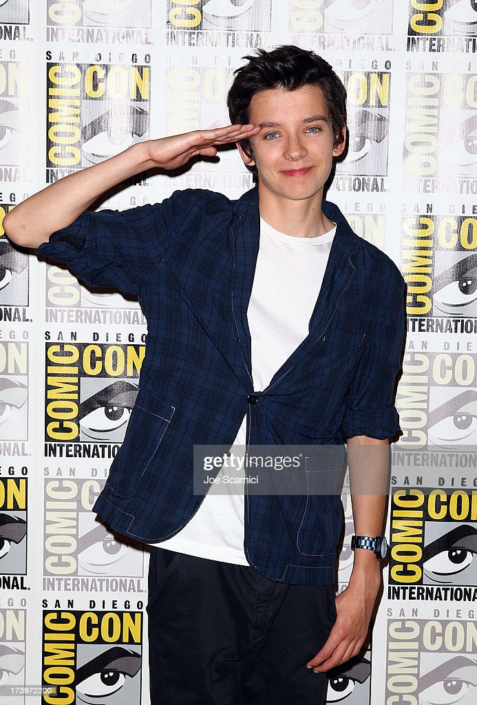 Actor <a gi-track='captionPersonalityLinkClicked' href=/galleries/search?phrase=Asa+Butterfield&family=editorial&specificpeople=5523693 ng-click='$event.stopPropagation()'>Asa Butterfield</a> attends 'Ender's Game' Comic-Con Press Line at San Diego Convention Center on July 18, 2013 in San Diego, California.