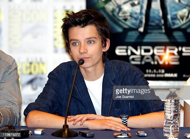 Actor Asa Butterfield speaks onstage at the 'Ender's Game' press conference during ComicCon International 2013 at San Diego Convention Center on July...