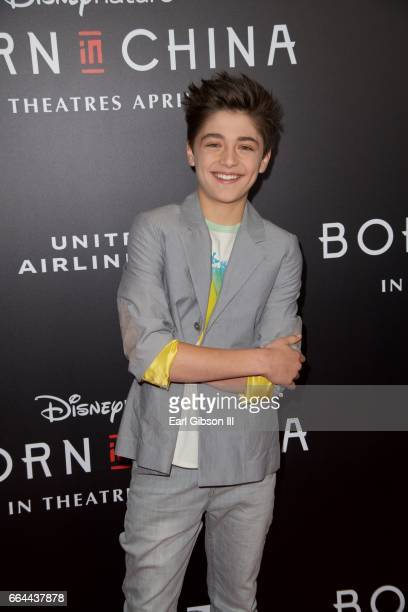Actor Asher Angel attends premiere of Disneynature's 'Born In China' at Billy Wilder Theater on April 3 2017 in Los Angeles California
