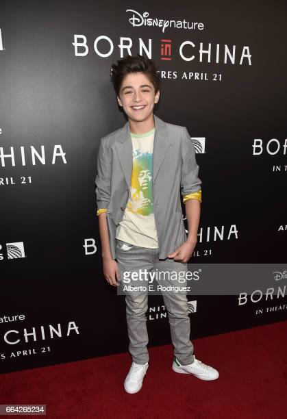 Actor Asher Angel attends the Los Angeles premiere of Disneynature's BORN IN CHINA at the Billy Wilder Theater at The Hammer Museum in Westwood CA on...