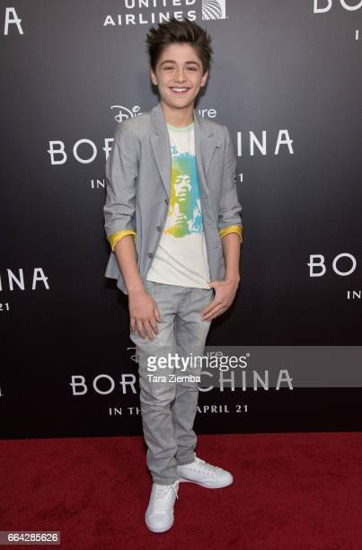 Actor Asher Angel attends the Los Angeles premiere of Disneynatures BORN IN CHINA at Billy Wilder Theater on April 3 2017 in Los Angeles California