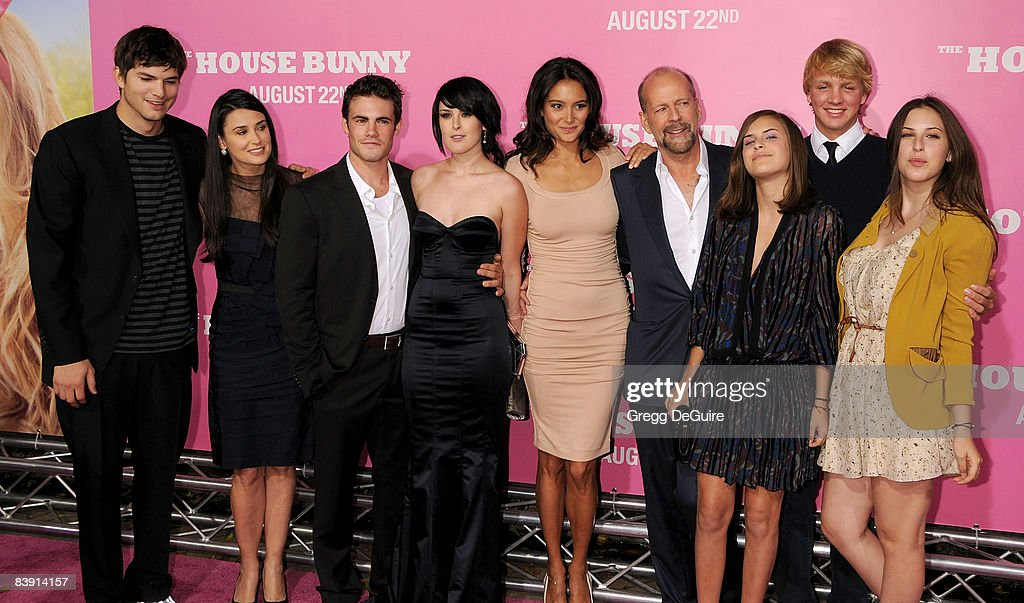 Actor Ashton Kutcher, Actress Demi Moore, Micah Alberti, Actress Rumer Willis, Emma Heming, Actor Bruce Willis and Scout and Tallulah Willis arrive at Sony Pictures' Premiere of 'House Bunny' at the Mann Village Theatre on August 14, 2008 in Los Angeles, California.