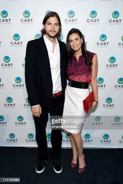 Actor Ashton Kutcher and actress Demi Moore arrive at the Coalition to Abolish Slavery Trafficking's 13th Annual Gala at the Skirball Cultural Center...