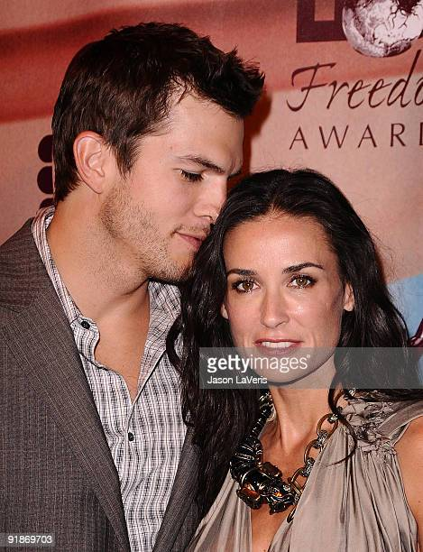 Actor Ashton Kutcher and actress Demi Moore attend the 2009 Freedom Awards at the University of Southern California on October 13 2009 in Los Angeles...