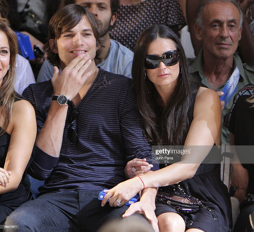 Actor Ashton Kutcher and Actress Demi Moore attend the Diesel Spring 2008 Fashion Show during Mercedes-Benz Fashion Week Spring 2008 in New York City