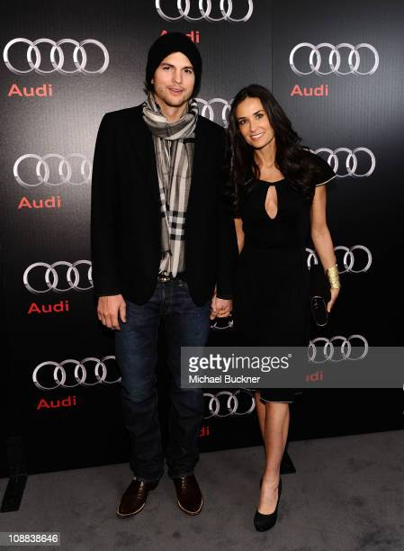 Actor Ashton Kutcher and actress Demi Moore attend the Super Bowl 2011 Audi Celebration at the Audi Forum Dallas on February 4 2011 in Dallas Texas