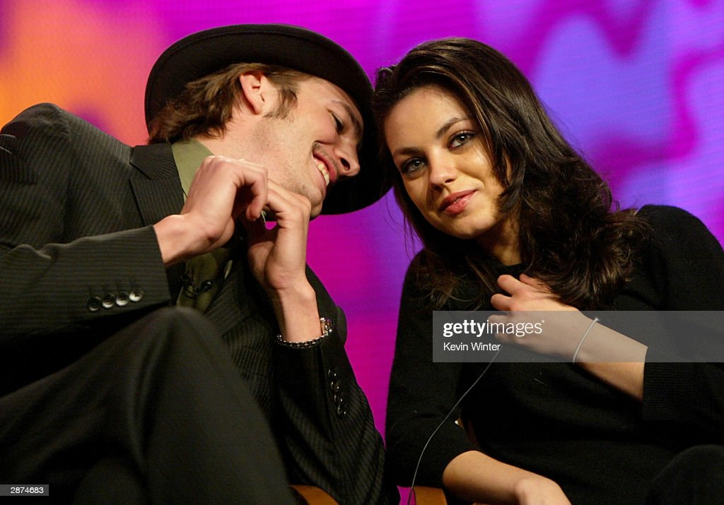 Actor Ashton Kutcher (L) and Actress <a gi-track='captionPersonalityLinkClicked' href=/galleries/search?phrase=Mila+Kunis&family=editorial&specificpeople=212845 ng-click='$event.stopPropagation()'>Mila Kunis</a> during the FOX Television Critics Association Press Tour on January 16, 2004 at the Renaissance Hollywood Hotel in Hollywood, CA.