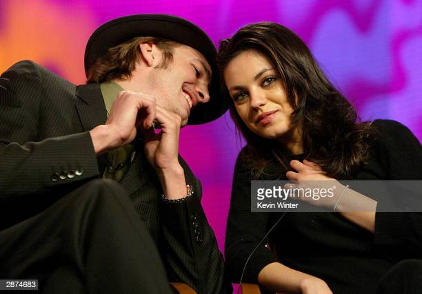 Actor Ashton Kutcher and Actress Mila Kunis during the FOX Television Critics Association Press Tour on January 16 2004 at the Renaissance Hollywood...