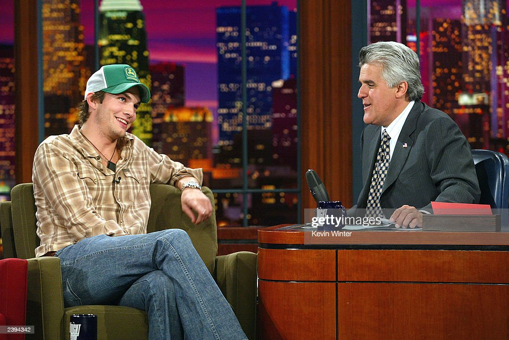 Actor Ashton Kutcher appears on 'The Tonight Show with Jay Leno' at the NBC Studios on August 12 2003 in Burbank California