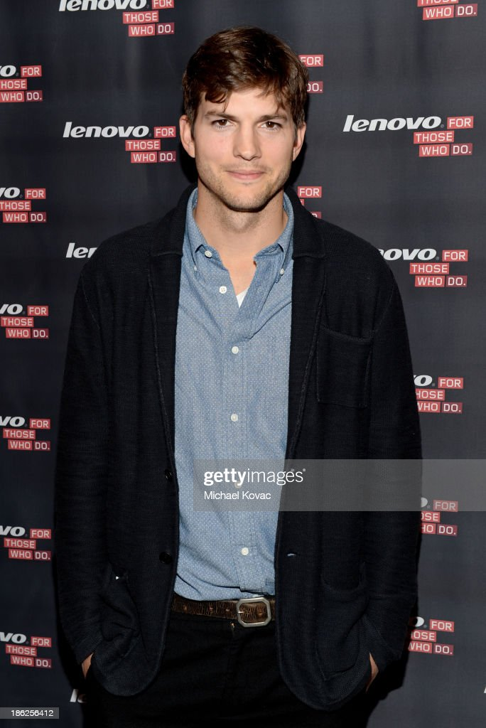 Actor <a gi-track='captionPersonalityLinkClicked' href=/galleries/search?phrase=Ashton+Kutcher&family=editorial&specificpeople=202015 ng-click='$event.stopPropagation()'>Ashton Kutcher</a> named Lenovo product engineer and launches Yoga Tablet at YouTube Space LA on October 29, 2013 in Los Angeles, California.