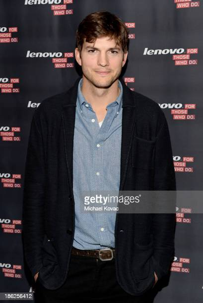 Actor Ashton Kutcher named Lenovo product engineer and launches Yoga Tablet at YouTube Space LA on October 29 2013 in Los Angeles California