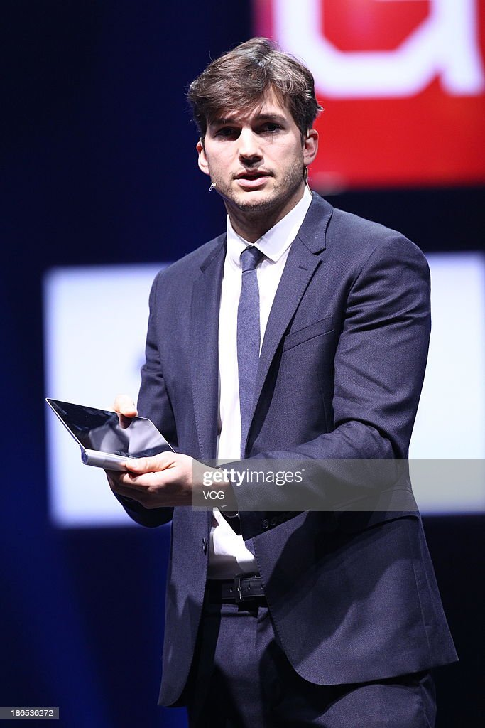 Actor <a gi-track='captionPersonalityLinkClicked' href=/galleries/search?phrase=Ashton+Kutcher&family=editorial&specificpeople=202015 ng-click='$event.stopPropagation()'>Ashton Kutcher</a> named Lenovo product engineer attends the launching ceremony of Yoga Tablet at China National Convention Center on November 1, 2013 in Beijing, China. The world's largest personal computer maker Lenovo launched its high-end product Yoga today.