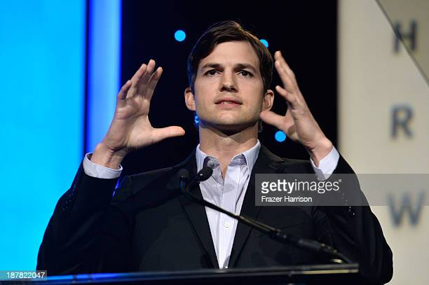 Actor Ashton Kutcher speaks at the Human Rights Watch Voices For Justice Dinner at The Beverly Hilton Hotel on November 12 2013 in Beverly Hills...