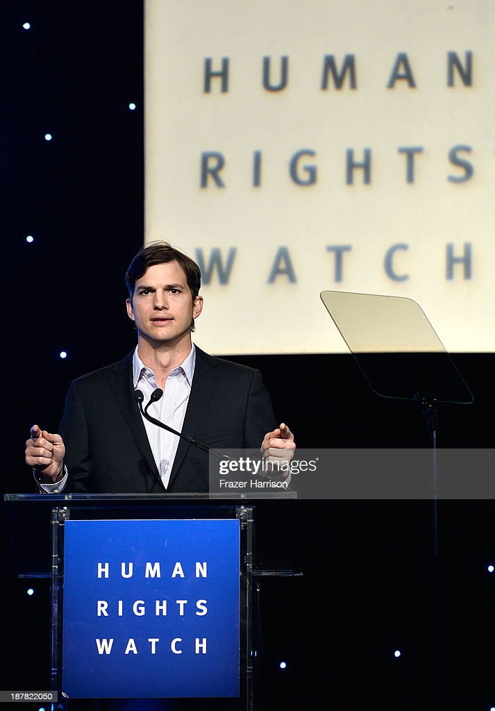 Actor <a gi-track='captionPersonalityLinkClicked' href=/galleries/search?phrase=Ashton+Kutcher&family=editorial&specificpeople=202015 ng-click='$event.stopPropagation()'>Ashton Kutcher</a> speaks at the Human Rights Watch Voices For Justice Dinner at The Beverly Hilton Hotel on November 12, 2013 in Beverly Hills, California.