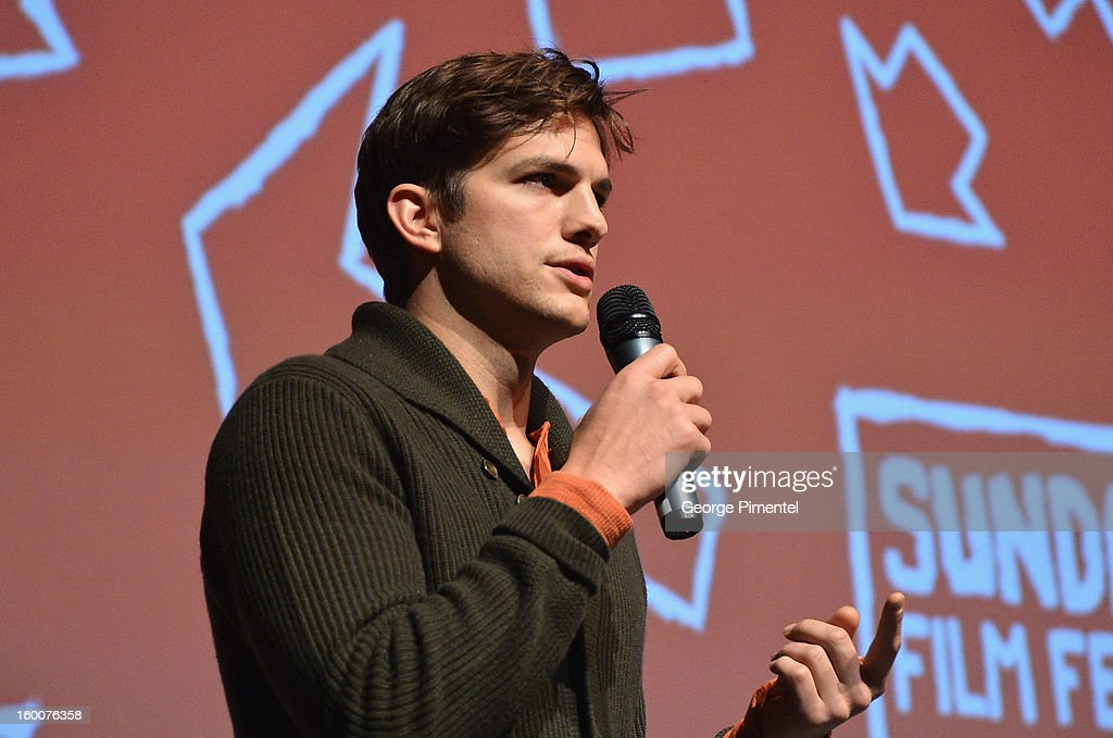 Actor <a gi-track='captionPersonalityLinkClicked' href=/galleries/search?phrase=Ashton+Kutcher&family=editorial&specificpeople=202015 ng-click='$event.stopPropagation()'>Ashton Kutcher</a> speaks onstage at the 'jOBS' Premiere during the 2013 Sundance Film Festival at Eccles Center Theatre on January 25, 2013 in Park City, Utah.