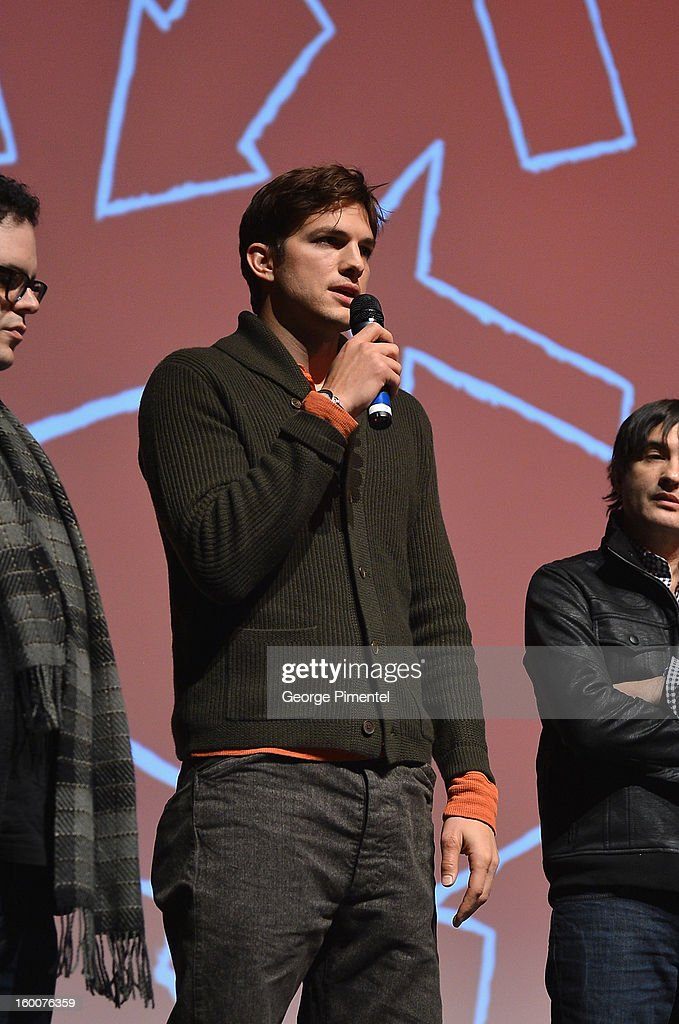 Actor Ashton Kutcher speaks onstage at the 'jOBS' Premiere during the 2013 Sundance Film Festival at Eccles Center Theatre on January 25, 2013 in Park City, Utah.
